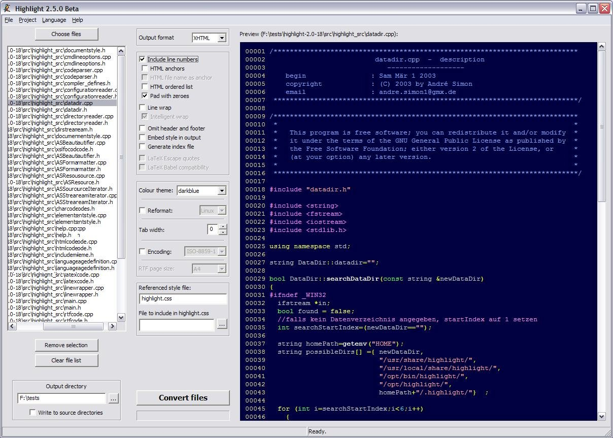 Screenshot vom Programm: Highlight Code Converter