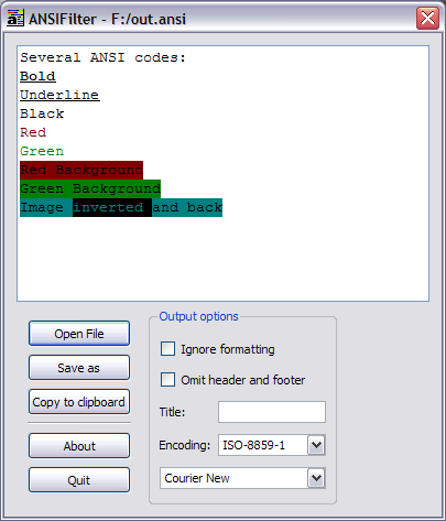 Ansifilter GUI Win32